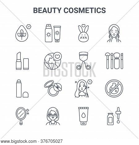 Set Of 16 Beauty Cosmetics Concept Vector Line Icons. 64x64 Thin Stroke Icons Such As Sunscreen, Lip