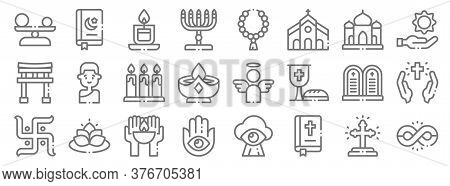 Spiritual Line Icons. Linear Set. Quality Vector Line Set Such As Infinite, Bible, Hamsa, Swastika,