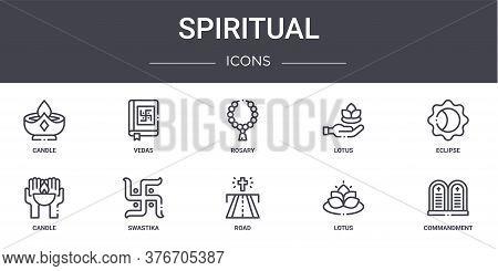 Spiritual Concept Line Icons Set. Contains Icons Usable For Web, Logo, Ui Ux Such As Vedas, Lotus, C
