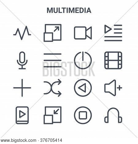 Set Of 16 Multimedia Concept Vector Line Icons. 64x64 Thin Stroke Icons Such As Full Screen, Record,