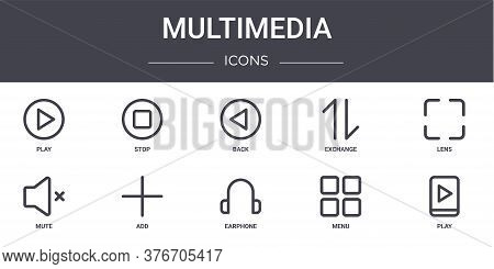 Multimedia Concept Line Icons Set. Contains Icons Usable For Web, Logo, Ui Ux Such As Stop, Exchange
