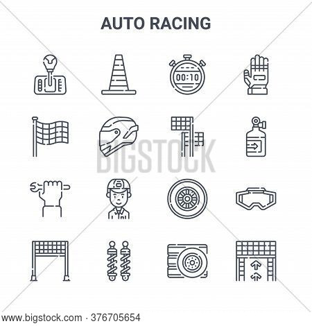 Set Of 16 Auto Racing Concept Vector Line Icons. 64x64 Thin Stroke Icons Such As Traffic Cone, Finis