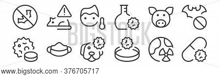 12 Set Of Linear Coronavirus Icons. Thin Outline Icons Such As Antivirus, Research, Face Mask, Swine