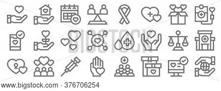 Charity Line Icons. Linear Set. Quality Vector Line Set Such As Worldwide, Gift Box, Charity, Charit