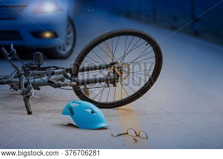 Accident Car Crash With Bicycle On Road ,nighttime
