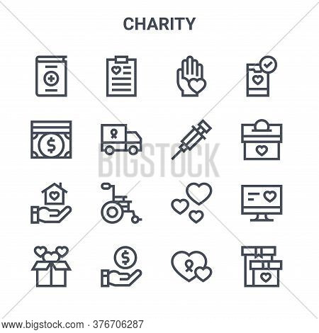 Set Of 16 Charity Concept Vector Line Icons. 64x64 Thin Stroke Icons Such As Clipboard, Money, Donat