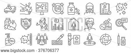 Infectious Pandemics Line Icons. Linear Set. Quality Vector Line Set Such As Vaccine, Keep Distance,