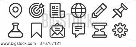 12 Set Of Linear User Interface Icons. Thin Outline Icons Such As Settings, Chat, Bookmark, Pencil,