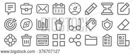 User Interface Line Icons. Linear Set. Quality Vector Line Set Such As Newsletter, Folder, Apps, Sup