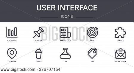User Interface Concept Line Icons Set. Contains Icons Usable For Web, Logo, Ui Ux Such As Push Pin,