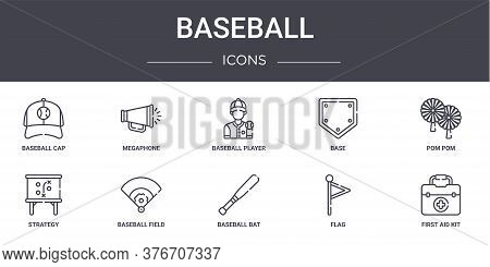 Baseball Concept Line Icons Set. Contains Icons Usable For Web, Logo, Ui Ux Such As Megaphone, Base,