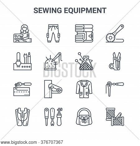 Set Of 16 Sewing Equipment Concept Vector Line Icons. 64x64 Thin Stroke Icons Such As Trousers, Stee