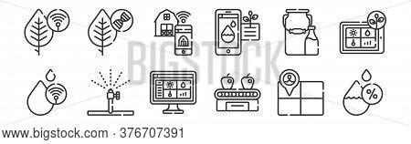 12 Set Of Linear Smart Farm Icons. Thin Outline Icons Such As Humidity, Conveyor Belt, Watering, Mil