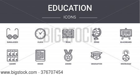 Education Concept Line Icons Set. Contains Icons Usable For Web, Logo, Ui Ux Such As Clock, Globe, L