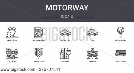 Motorway Concept Line Icons Set. Contains Icons Usable For Web, Logo, Ui Ux Such As Gas Station, Car