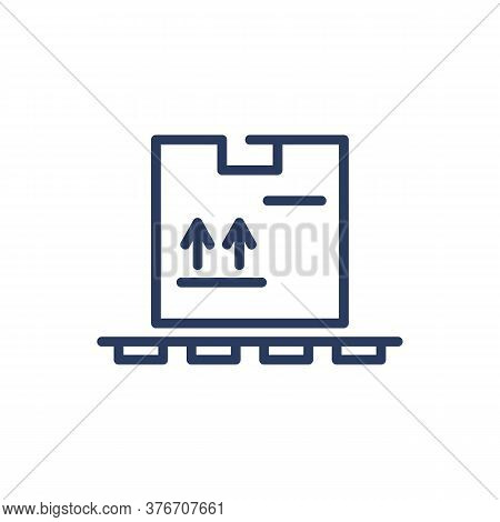 Box With Fragile Cargo On Palette Thin Line Icon. Storage, Product, Warehouse Isolated Outline Sign.