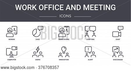 Work Office And Meeting Concept Line Icons Set. Contains Icons Usable For Web, Logo, Ui Ux Such As C