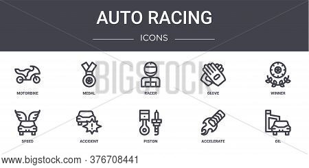 Auto Racing Concept Line Icons Set. Contains Icons Usable For Web, Logo, Ui Ux Such As Medal, Glove,