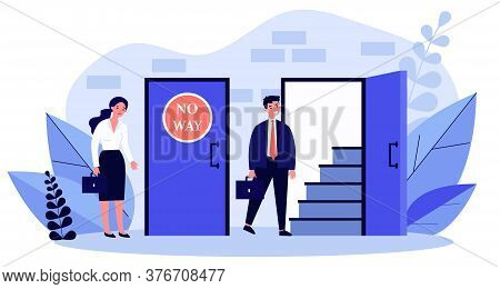 Woman Standing Near Closed Door And Man Going Into Open One Flat Illustration. Social Inequality Mak