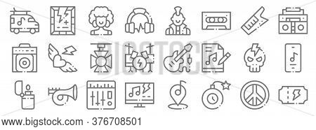 Rock N Roll Line Icons. Linear Set. Quality Vector Line Set Such As Concert Ticket, Bomb, Tv Show, L