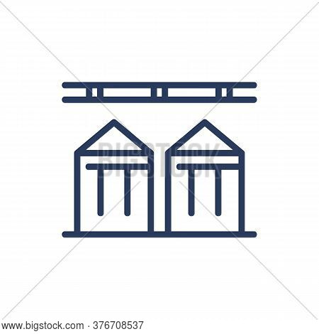 Grain Elevator Thin Line Icon. Building, Steel Containers, Towers Isolated Outline Sign. Grain Produ