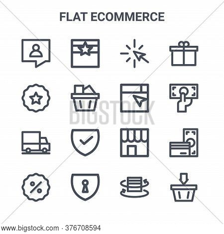 Set Of 16 Flat Ecommerce Concept Vector Line Icons. 64x64 Thin Stroke Icons Such As Best Buy, Best P