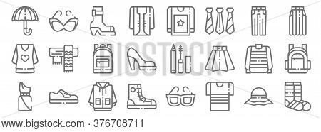 Fashion Line Icons. Linear Set. Quality Vector Line Set Such As Socks, T Shirt, Sneakers, Dress, Swe