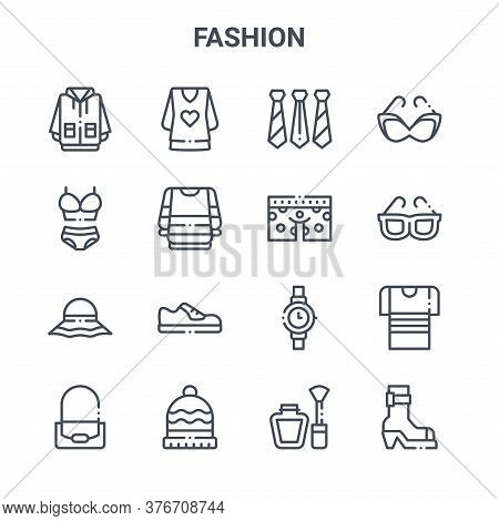 Set Of 16 Fashion Concept Vector Line Icons. 64x64 Thin Stroke Icons Such As Blouse, Lingerie, Sungl