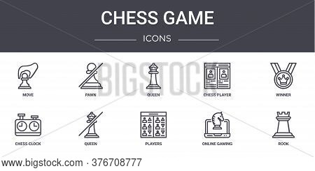 Chess Game Concept Line Icons Set. Contains Icons Usable For Web, Logo, Ui Ux Such As Pawn, Chess Pl
