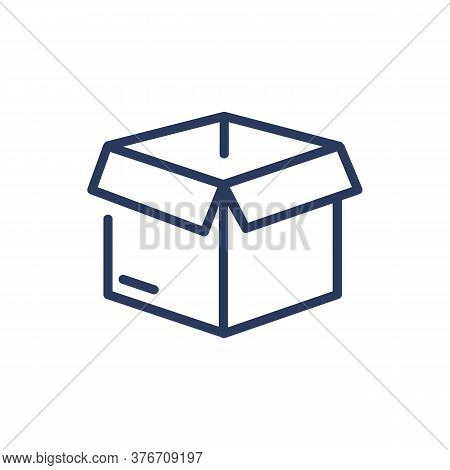 Carton Empty Open Box Thin Line Icon. Import, Parcel, Export Isolated Outline Sign. Delivery And Shi