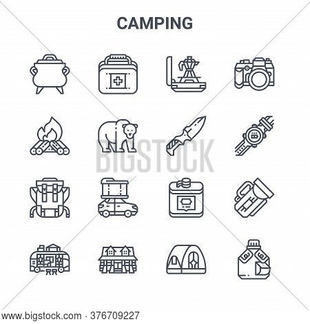 Set Of 16 Camping Concept Vector Line Icons. 64x64 Thin Stroke Icons Such As First Aid Box, Campfire