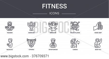 Fitness Concept Line Icons Set. Contains Icons Usable For Web, Logo, Ui Ux Such As Exercise, Music P