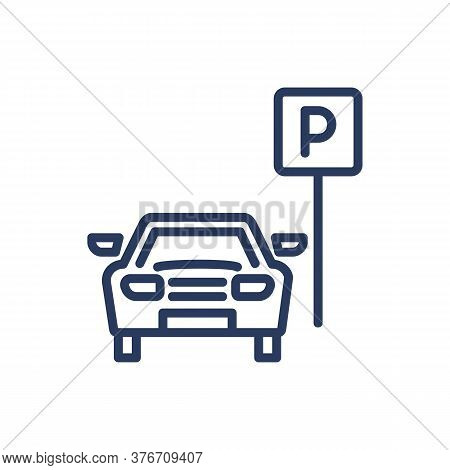 Parking Area Thin Line Icon. Vehicle Parking Near Road Sign. Isolated Outline Sign. Car Driving, Par