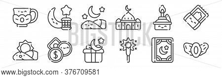 12 Set Of Linear Ramadan Icons. Thin Outline Icons Such As Dates, Sparkler, Zakat, Oil Lamp, Sleepin