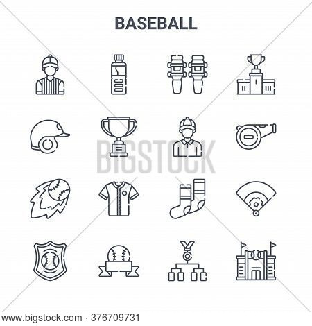 Set Of 16 Baseball Concept Vector Line Icons. 64x64 Thin Stroke Icons Such As Water Bottle, Helmet,