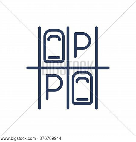 Parking Lot Thin Line Icon. Vacant Slots, Vehicles, Top View Isolated Outline Sign. Car Driving, Par