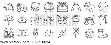 Spring Season Line Icons. Linear Set. Quality Vector Line Set Such As Boots, Wind Turbine, Hat, Gnom
