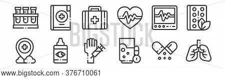 12 Set Of Linear Medicine Icons. Thin Outline Icons Such As Lungs, Water Glass, Eye Drops, Ecg, Medi