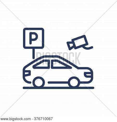 Parking Area With Surveillance Thin Line Icon. Vehicle, Video Camera, Slot Isolated Outline Sign. Ca