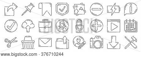User Interface Line Icons. Linear Set. Quality Vector Line Set Such As Setting, Camera, Folder, Scis