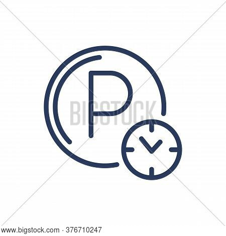 Parking Hours Thin Line Icon. Circular Parking Symbol, Clock, Time Isolated Outline Sign. Roadside S