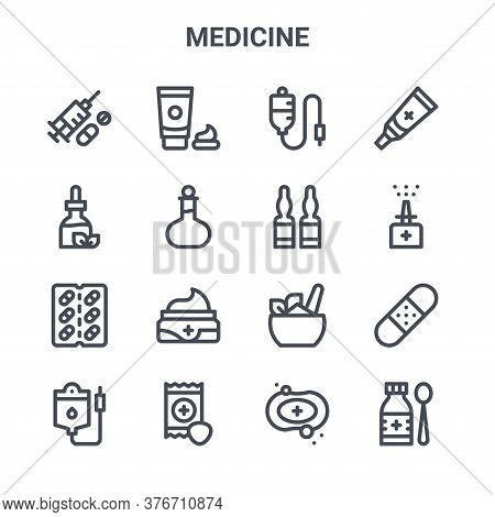 Set Of 16 Medicine Concept Vector Line Icons. 64x64 Thin Stroke Icons Such As Cream, Tincture, Nasal