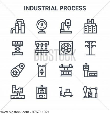 Set Of 16 Industrial Process Concept Vector Line Icons. 64x64 Thin Stroke Icons Such As Gauge, Sciss