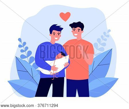 Male Gay Couple Adopting Baby. Two Happy Young Men Holding New Born Child Flat Vector Illustration.
