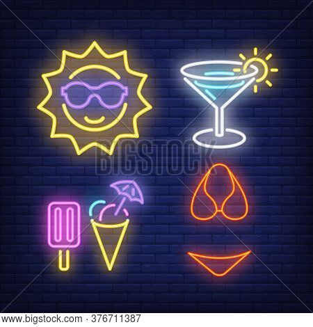 Sun, Cocktail, Ice-cream And Bikini Neon Signs Set. Tourism, Summer And Vacation Design. Night Brigh