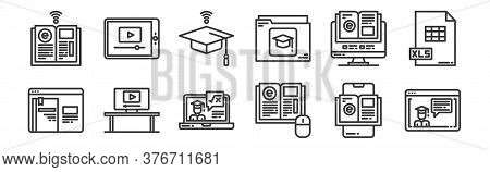 12 Set Of Linear Elearning Icons. Thin Outline Icons Such As Graduation, Elearning, Monitor, Elearni