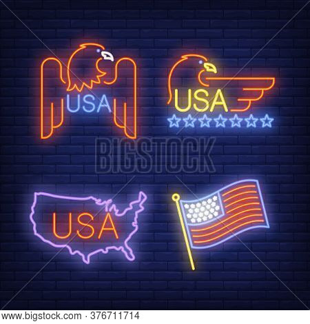 American Eagle, Usa Flag And Map Neon Signs Set With Text. Usa Symbols Design. Night Bright Neon Sig