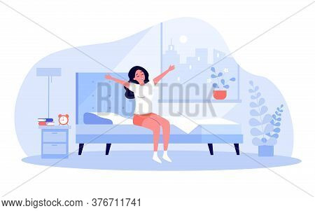 Happy Young Woman Awakening At Morning Isolated Flat Vector Illustration. Cartoon Female Character I