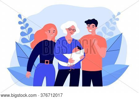 Grandmother Parents Holding Newborn Baby. Happy Family, Grandparent, Parent Couple Flat Vector Illus