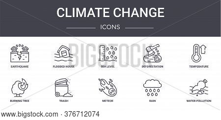 Climate Change Concept Line Icons Set. Contains Icons Usable For Web, Logo, Ui Ux Such As Flooded Ho